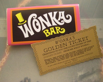 Willy Wonka & The Chocolate Factory Replica Wonka Bar and Golden Ticket