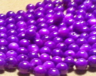 Purple shell beads; dyed mother of pearl, hot violet round beads, 5mm, 14pcs/1.70