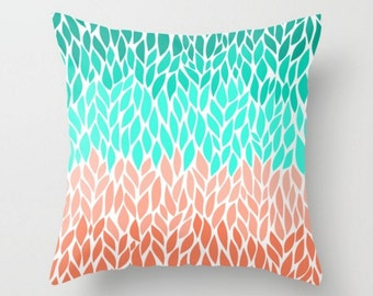 Coral Teal Mint Green Pillow Case Cover Cushion Cover 16x16 18x18 20x20 Square Home Decor