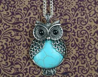 owl with tourquoise stone pendant necklace