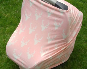 Stretchy Car Seat Cover/Nursing Cover by Solchan || Multiuse Stretch Baby Carseat Cover, girl/pink/deer/bucks canopy