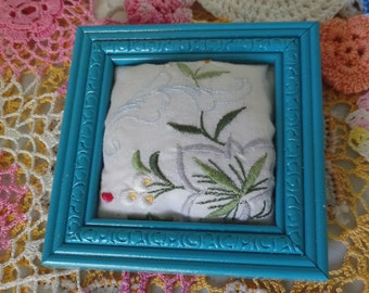 Vintage Embroidered Pincushion Frame