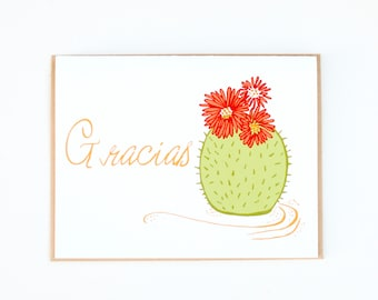 Spanish Thank you Card, Cactus Card, Blank Card, Blank Folded Card, Cactus Card, Green & Red Cactus, Gracias Greeting Cards