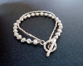Silber Perlen Armband mit roundem Verschluss