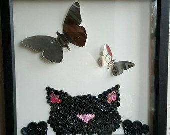 Mixed media wall art Cat and Butterfly