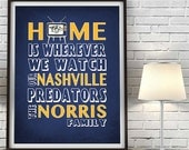 Nashville Predators hockey inspired Home is Wherever Art PRINT sports wall & home decor UNFRAMED father's day christmas gift, All Sizes