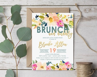 Brunch & Bubbly Bridal Shower Invitation - Watercolor, Blue, Coral, Blush, Gold // Digital or Printed //