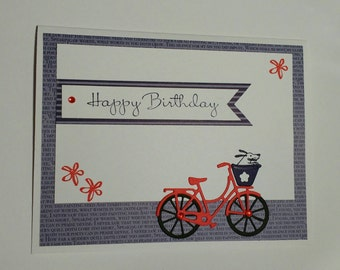 Birthday card, bicycle birthday card, homemade card