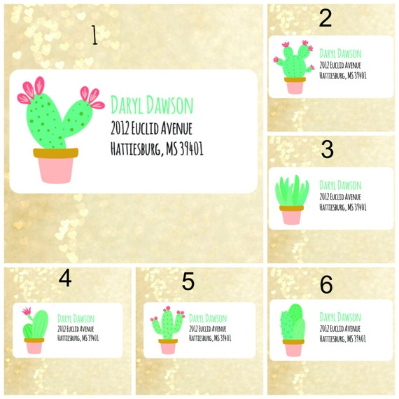 cute cactus return address labels address labels address With cute mailing labels
