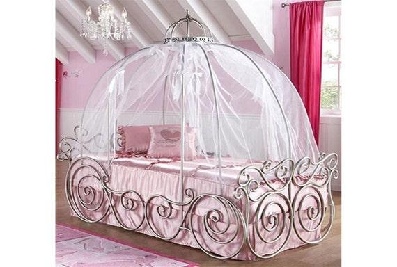 disney princess carriage bed pink canopy sheer fabric
