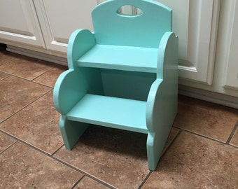 Kids wooden 2-step stool. Available in solid color.