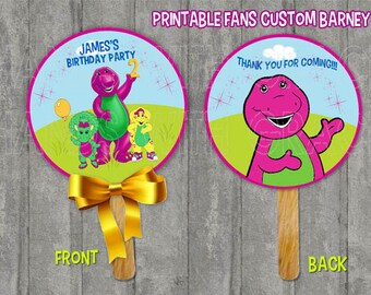 "Printable Fans custom cardboard personalized ""Barney"""