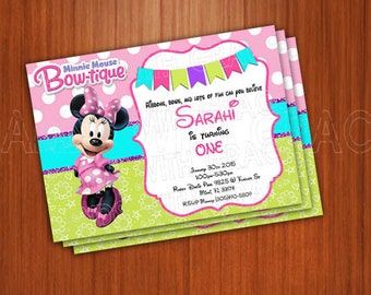 """Printable invitation Party """"Minnie Mouse"""" personalized"""