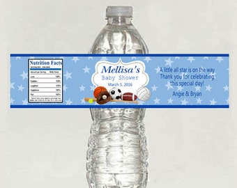 All Star Baby Shower Water Bottle Label, boy Sports Theme - Printable