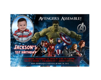 Avengers Personalized Photo Birthday Invitations - Printable or Printed