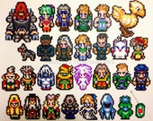 Complete 28 Final Fantasy 6  Heroes/Villians/NPC Character Magnet Set - Includes 28 In-Game Characters/Enemies/Animals & a Magicite KeyChain