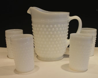 Vintage Milk Glass Hobnail Anchor Hocking Lemonade Pitcher and Tumblers