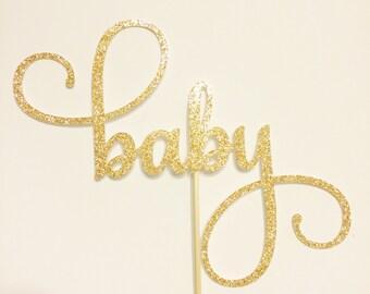 baby glitter cardstock cake topper
