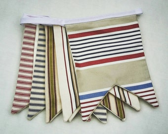 Handmade Beachut Bunting in Striped Ticking