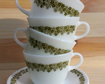 """Spring Blossom Pyrex cup and saucer. Pyrex Corelle Green flower Cup and Saucer. Corelle """"Spring Blossom"""""""