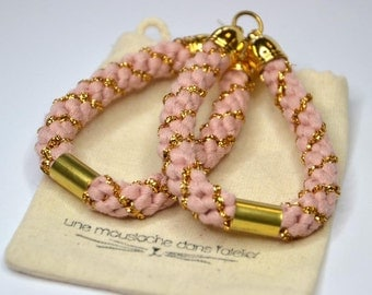 "Woven earrings ""pink and Golden"""