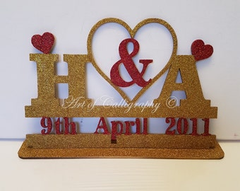 Personalised wooden couples initial and date stand