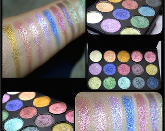BEST SELLER.Preorder Duochrome multidimensional 15 Intense foiled 26mm pan size eyeshadow palette.