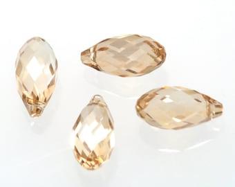 Clearance Sale 2 pcs 6010 Briolette Pendant Crystal Golden Shadow 13x6.5mm Genuine SWAROVSKI ELEMENTS