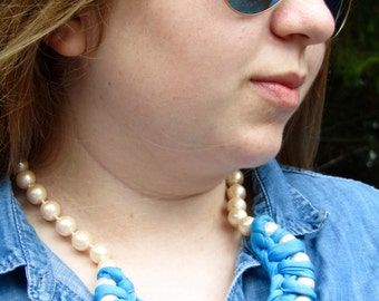 Blue Fabric Braided Pearl Necklace