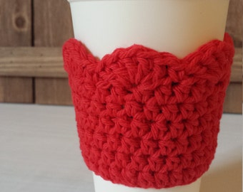 Crochet Coffee Sleeve with Scallop Edge / 100% Cotton / Crochet Gifts / Cotton Gifts - Red