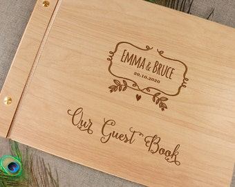 Alternative Personalised Wedding Guest Book, Wood Guest Book, Rustic