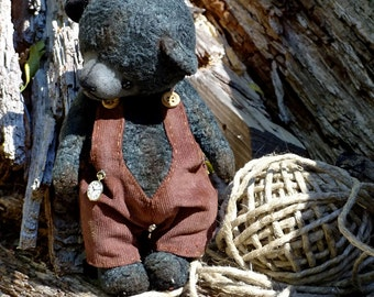SALE! Antique Black Artist Teddy bear vintage style. Stuffed Collectible dressed teddy bear. Handmade Keepsake gift. OOAK