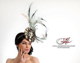 Black and White  Royal Ascot horse race hat, Kentaky Fascinator, Melbourne hat, Wedding quest tea party hat, couture derby hat