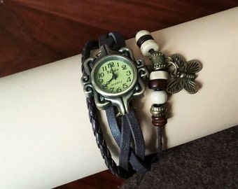 Hot Lady Vintage Leather wrist watch black CA118