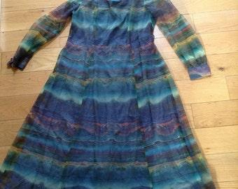 1960' Green Patterned dress-Linda Leigh