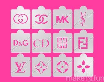 12 pcs Lv Designer stencils, Cake Stencil, Cupcake,  Cookie Stencil, Kuchenschablone (Product Code LK033)