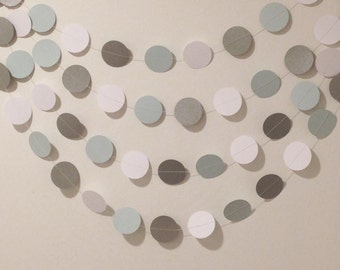 Baby blue, white and grey circle garland, baby shower garland, paper garland, nursery decor