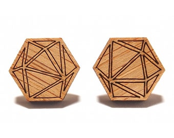 Polyhedra Bamboo Stud Earrings, Polyhedra Earrings, Polyhedra Studs, Wooden Earrings, Etched Bamboo Studs, Geometric Earrings, Gift for Her