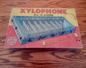 Vintage Xylophone with Glass Tube Chimes (1940's)