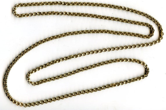 "FREE SHIPPING-Antique-Victorian-Belcher-9ct Rolled Gold-Guard-Muff-Continuous-Chain-Necklace-46""-70.7 Grams"