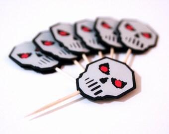 Terraria Skull Food Picks | Terraria Cupcake Topper | Halloween Party | Terraria Birthday | Terraria Decoration | Terraria Party (Set of 12)