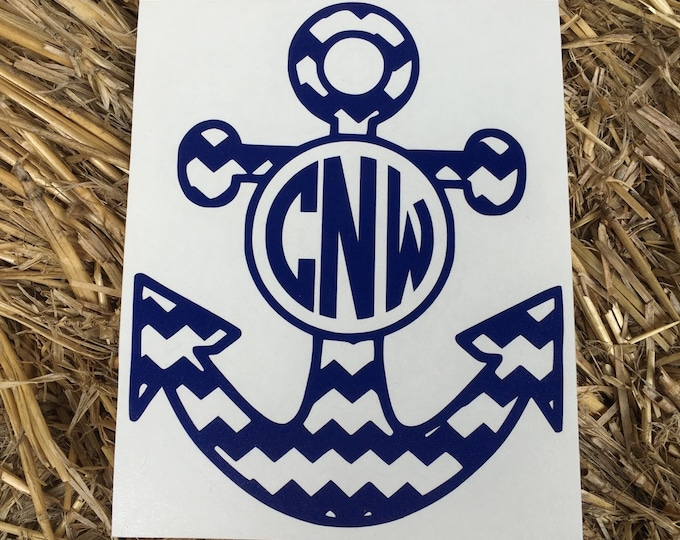 Monogrammed Anchor, Chevron Anchor Decal, Personalized Anchor, Anchor down, Monogrammed Decal, Monogrammed Chevron Anchor