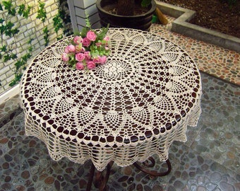"""New crochet America style table cloth/mat beige round 27.6"""" H1204"""