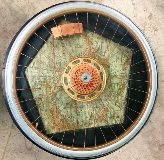 Glass top accent table bike wheel by tweakitshop on etsy for Bicycle wheel table