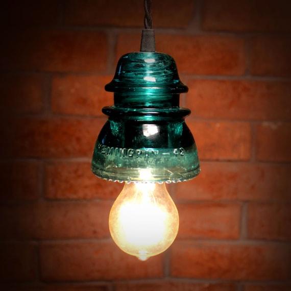 Items Similar To Industrial Lighting: Items Similar To Turquoise Glass Insulator Pendant Light