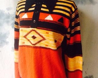 Vintage 70s Medium Sized Navajo Printed Collared Sweater