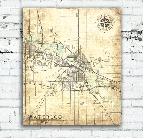 Waterloo (IA) United States  city pictures gallery : ... map poster retro antique old Waterloo Iowa IA vintage United States
