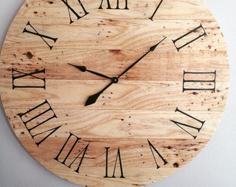 Rustic Pallet Wood Clock -35""