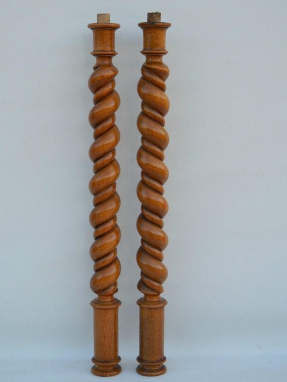 Twist Wood Columns : Antique french wooden twist spiral turned posts pillars