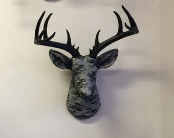 Midnight Lace/Fabric Deer Head, Goth Wall Decor